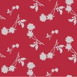 Картина акварели безшовная с силуэтами серых роз и листьев на темноте - красной предпосылке Стоковые Фотографии RF