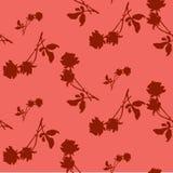 Картина акварели безшовная с силуэтами темноты - красные розы и листья на светлой красной предпосылке Китайские мотивы Стоковая Фотография