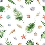 Картина акварели безшовная тропических листьев и seashells изолированных на белой предпосылке Стоковые Фотографии RF