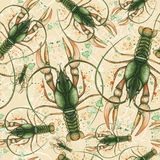 Картина акварели безшовной картины на морской теме и на знаке зодиака, раке, омаре, раке реки, зеленом цвете, детальном il Стоковые Фото