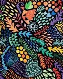 Картина акварели вектора безшовная абстрактная ботаническая этническая Художническая handmade печать батика, флористическая восто иллюстрация вектора