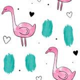 Картина акварели вектора безшовная Розовый фламинго Стоковые Фотографии RF