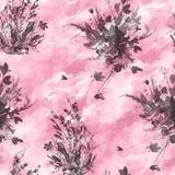 Картина акварели винтажная безшовная, цветочный узор, пинк, розы, мак, бутоны Заводы, цветки, трава во флористической, дикой трав иллюстрация штока