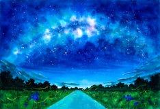 Картина акварели - звездная ночь с галактикой иллюстрация штока