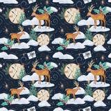Картина акварели зимы безшовная с оленями стоковые фото