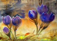 Картина акварели красивых цветков весны Стоковая Фотография RF