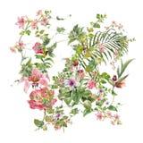 Картина акварели листьев и цветка, на белизне стоковая фотография