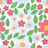 Картина акварели лист цветка Солнца безшовная иллюстрация штока