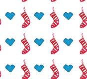 Картина акварели рождества красивая безшовная с носками и сердцами иллюстрация штока