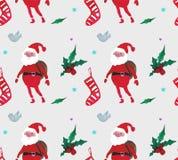 Картина акварели рождества красивая безшовная с Санта Клаусом, ягодами, звездами, носками и птицами иллюстрация штока