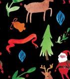 Картина акварели рождества красивая безшовная с Санта, оленями, лентами, колоколами и деревом Счастливое оформление Нового Года иллюстрация вектора