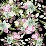 Картина акварели с кактусами и succulents, цветками пиона, подняла Стоковые Фотографии RF
