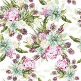 Картина акварели с кактусами и succulents, цветками пиона, подняла Стоковое Изображение