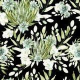 Картина акварели с кактусами и succulents Стоковая Фотография
