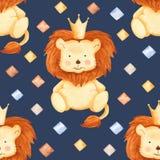 Картина акварели с львом и косоугольниками иллюстрация вектора
