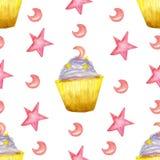 Картина акварели с пурпурными puncakes и звездой и луной иллюстрация вектора