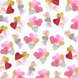 Картина акварели с сердцами стоковое фото rf