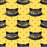 Картина 3 акварели хеллоуина безшовная черный кот стоковое изображение