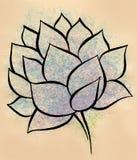 Картина акварели цветка лотоса ручной работы Стоковое Изображение RF