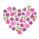 Картина акварели цветков и листьев Яркая печать лета в форме сердца с флористическими элементами стоковые изображения rf