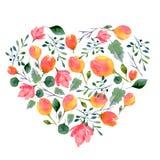 Картина акварели цветков и листьев Яркая печать лета в форме сердца с флористическими элементами стоковое фото rf