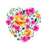 Картина акварели цветков и листьев Яркая печать лета в форме сердца с флористическими элементами иллюстрация штока
