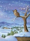 Картина акварели ландшафта зимы Стоковые Изображения