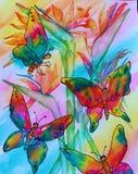 Картина акварели бабочек стоковые фото