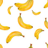 Картина акварели безшовная с бананами Дизайн нарисованный рукой тропический Иллюстрация штока