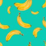 Картина акварели безшовная с бананами на предпосылке бирюзы Стоковые Изображения
