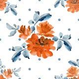 Картина акварели безшовная с букетами желтых роз и серой польки на белой предпосылке Стоковое Изображение