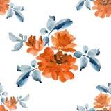 Картина акварели безшовная с букетами оранжевых роз на белой предпосылке Стоковое фото RF