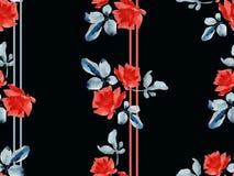 Картина акварели безшовная с гирляндами красных роз и покрашенных прокладок серого цвета и красного цвета на черной предпосылке Стоковые Изображения RF