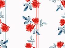 Картина акварели безшовная с гирляндами красных роз и покрашенных прокладок серого цвета и красного цвета и серого цвета на белой Стоковые Изображения RF