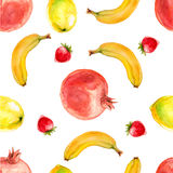 Картина акварели безшовная с гранатовым деревом, бананами и клубниками Бесплатная Иллюстрация