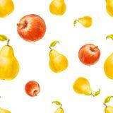 Картина акварели безшовная с грушами и красными яблоками Бесплатная Иллюстрация