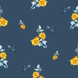 Картина акварели безшовная с желтыми розами, листьями сини и dragonfly на голубой предпосылке Стоковая Фотография
