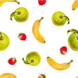 Картина акварели безшовная с зелеными яблоками, клубниками и бананами Бесплатная Иллюстрация