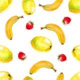 Картина акварели безшовная с лимонами, бананами и клубниками Бесплатная Иллюстрация