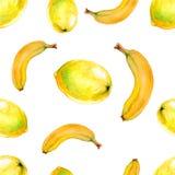 Картина акварели безшовная с лимонами и бананами Бесплатная Иллюстрация