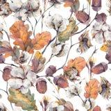 Картина акварели безшовная с листьями и жолудями дуба иллюстрация вектора