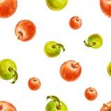 Картина акварели безшовная с красными и зелеными яблоками Бесплатная Иллюстрация