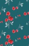 Картина акварели безшовная с красными розами на предпосылке бирюзы Стоковые Изображения
