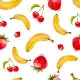 Картина акварели безшовная с клубниками, вишнями и бананами Иллюстрация штока
