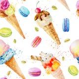 Картина акварели безшовная с мороженым и macaroons Стоковое Фото