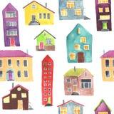 Картина акварели безшовная с домом Стоковые Изображения