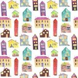 Картина акварели безшовная с домом Стоковое Фото