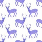 Картина акварели безшовная с оленями на Стоковое Изображение