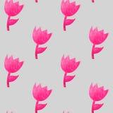 Картина акварели безшовная с розовыми тюльпанами Стоковые Фотографии RF