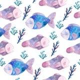 Картина акварели безшовная с рыбами и морскими водорослями Стоковые Изображения RF